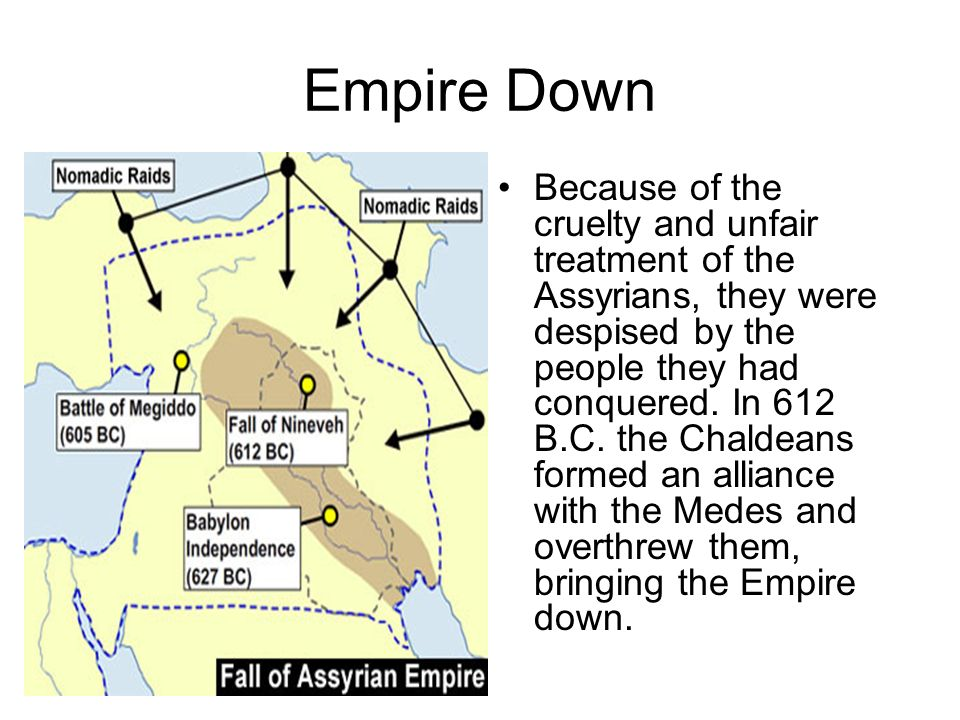 Empire Down Because of the cruelty and unfair treatment of the Assyrians, they were despised by the people they had conquered.