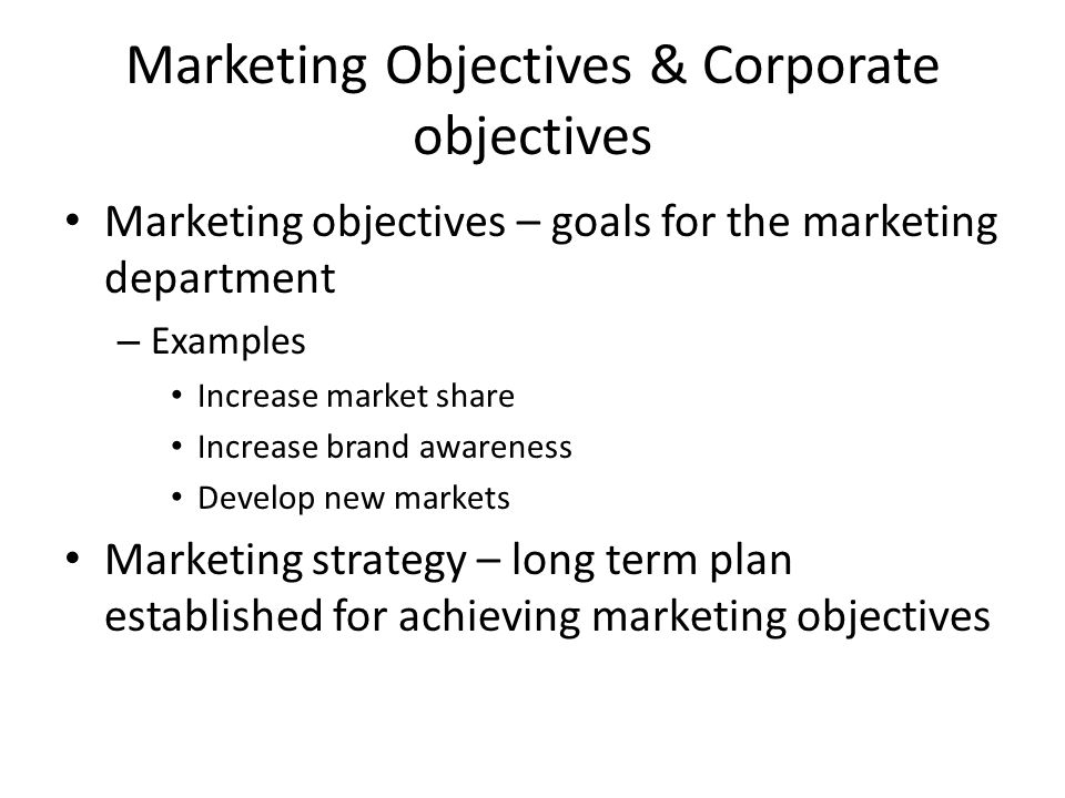 Topic  Marketing Marketing Planning Learning Objectives Discuss