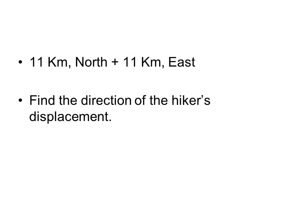 11 Km, North + 11 Km, East Find the direction of the hiker's displacement.