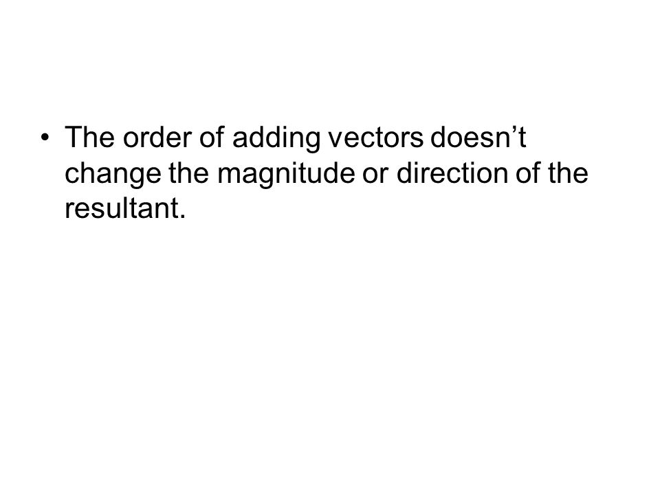 The order of adding vectors doesn't change the magnitude or direction of the resultant.