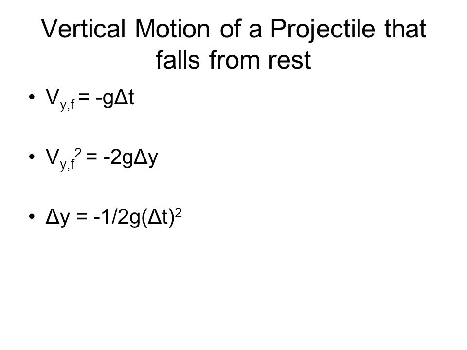 Vertical Motion of a Projectile that falls from rest V y,f = -gΔt V y,f 2 = -2gΔy Δy = -1/2g(Δt) 2