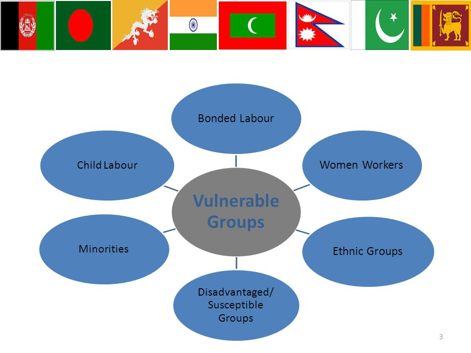 Vulnerable Groups Bonded LabourWomen WorkersEthnic Groups Disadvantaged/ Susceptible Groups MinoritiesChild Labour 3