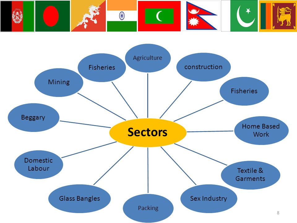 Sectors Agriculture constructionFisheries Home Based Work Textile & Garments Sex Industry Packing Glass Bangles Domestic Labour BeggaryMiningFisheries 8