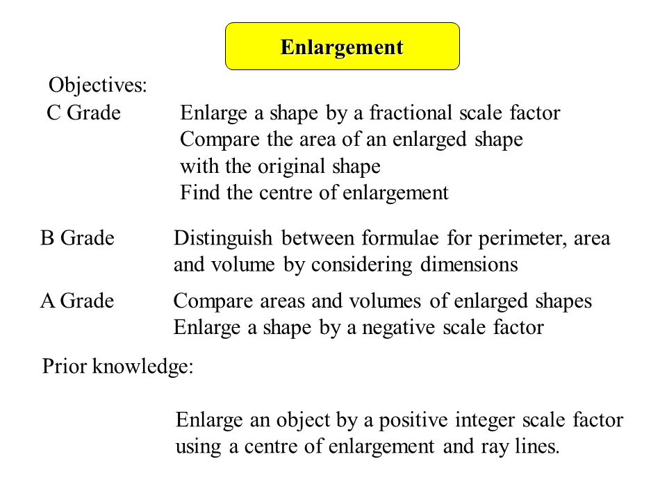 Enlargement objectives c gradeenlarge a shape by a fractional 1 enlargement ccuart Images