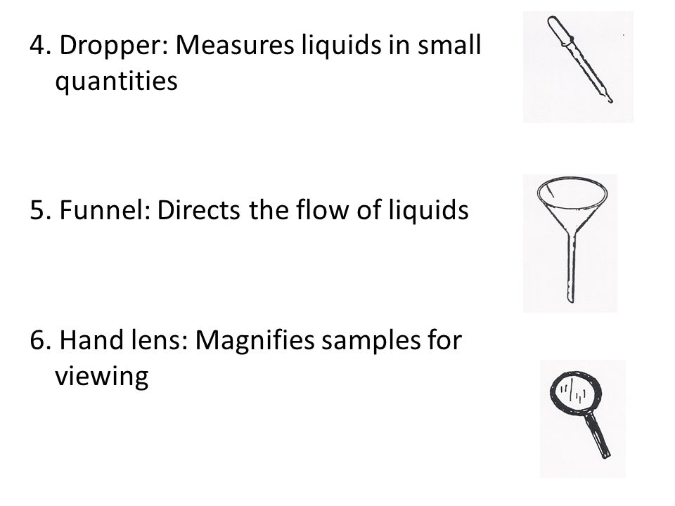 4. Dropper: Measures liquids in small quantities 5.