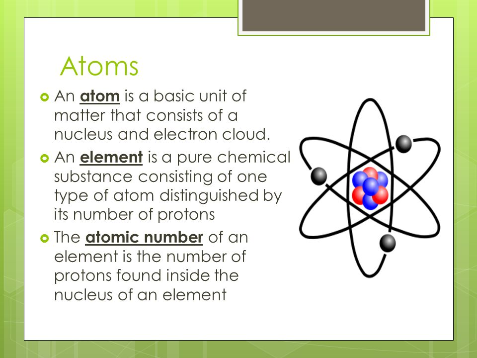 Atoms  An atom is a basic unit of matter that consists of a nucleus and electron cloud.