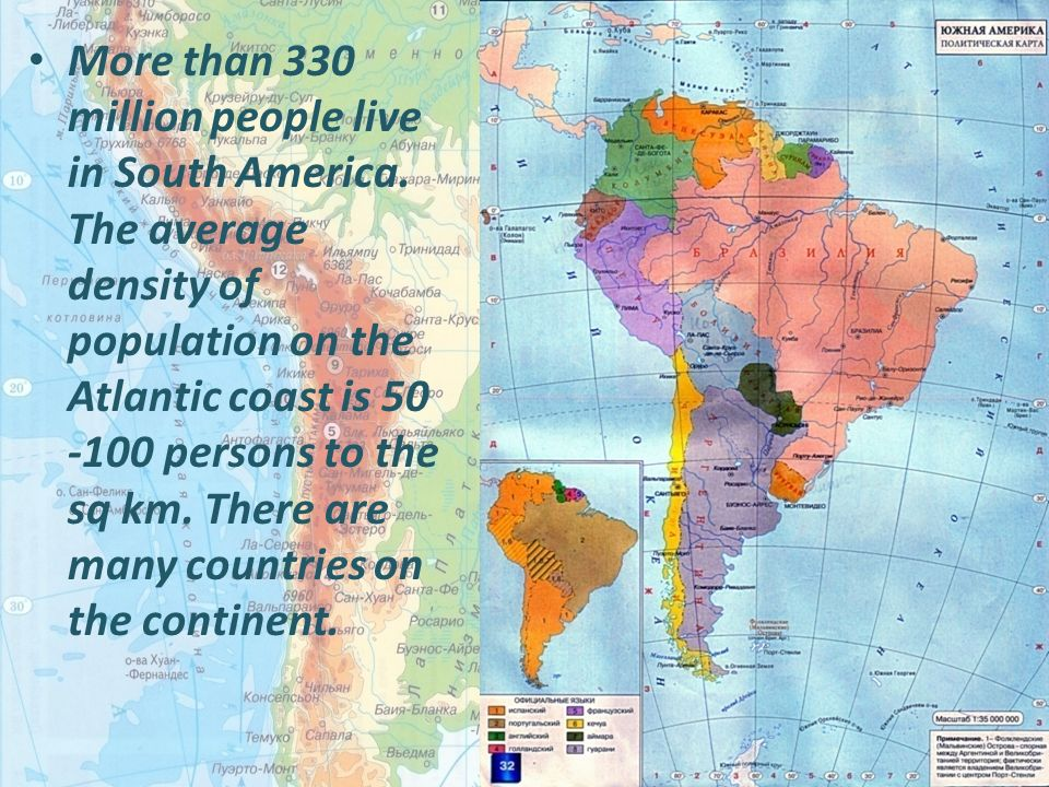More Than Million People Live In South America The Average - South american population map