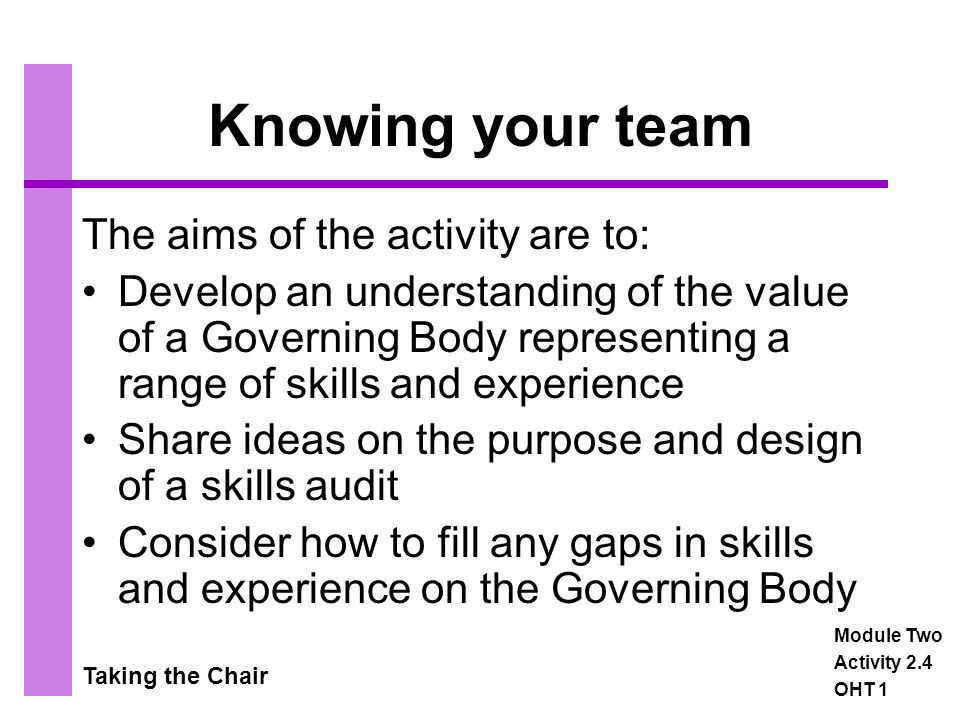 Taking the Chair Knowing your team The aims of the activity are to: Develop an understanding of the value of a Governing Body representing a range of skills and experience Share ideas on the purpose and design of a skills audit Consider how to fill any gaps in skills and experience on the Governing Body Module Two Activity 2.4 OHT 1
