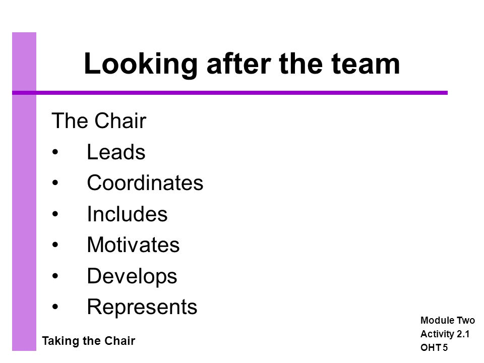 Taking the Chair Looking after the team The Chair Leads Coordinates Includes Motivates Develops Represents Module Two Activity 2.1 OHT 5