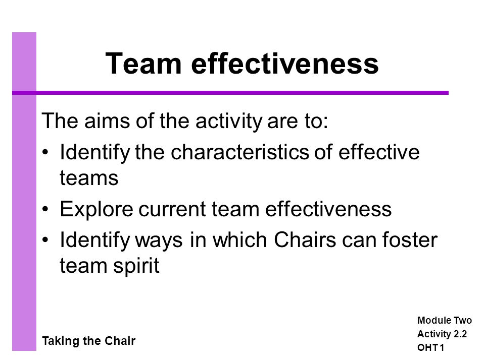 Taking the Chair Plenary Session The aims of the activity are to: Reflect on learning Evaluate the session Prepare for the next session or module Module Two Activity 2.9 OHT 1