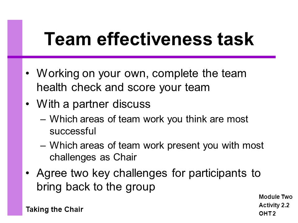 Taking the Chair Leadership The aims of the activity are to: Identify a range of leadership styles and their appropriate use Apply the styles to a variety of situations and consider their effectiveness Encourage individuals to consider the leadership style they use most frequently Module Two Activity 2.3a OHT 1
