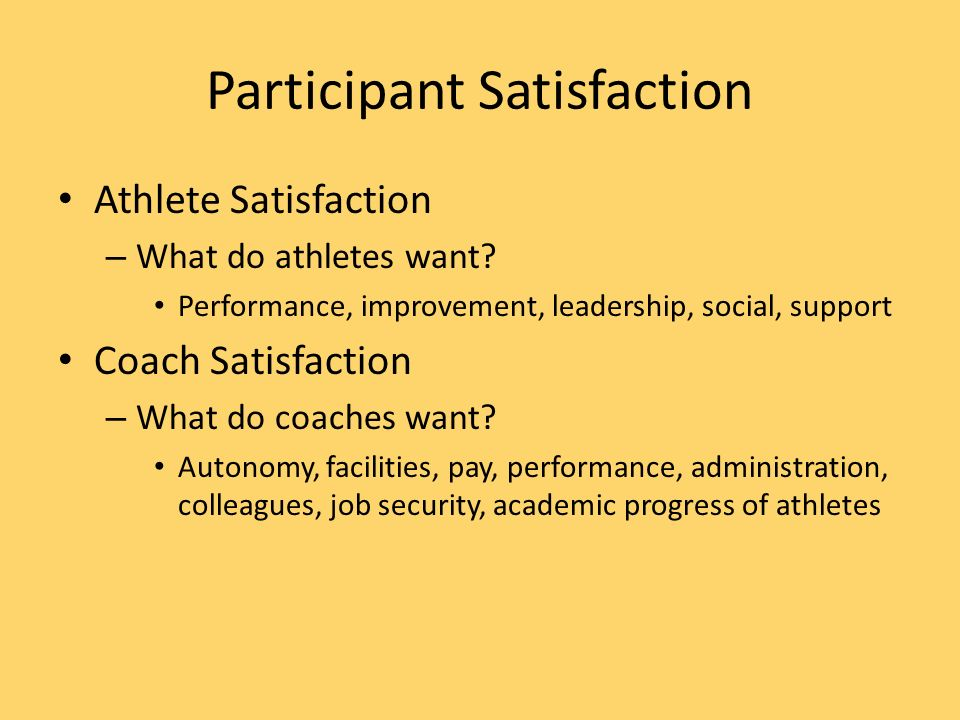 Participant Satisfaction Athlete Satisfaction – What do athletes want.