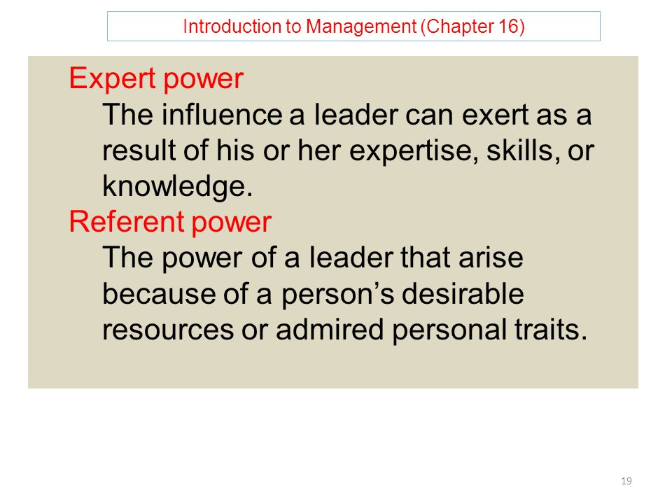 Introduction to Management (Chapter 16) 19 Expert power The influence a leader can exert as a result of his or her expertise, skills, or knowledge.