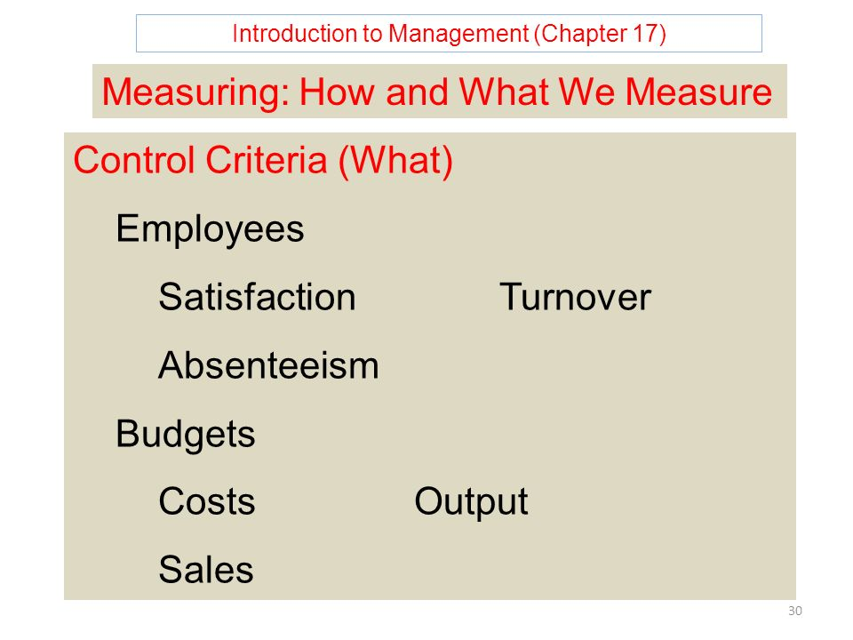 Introduction to Management (Chapter 17) 30 Measuring: How and What We Measure Control Criteria (What) Employees SatisfactionTurnover Absenteeism Budgets CostsOutput Sales