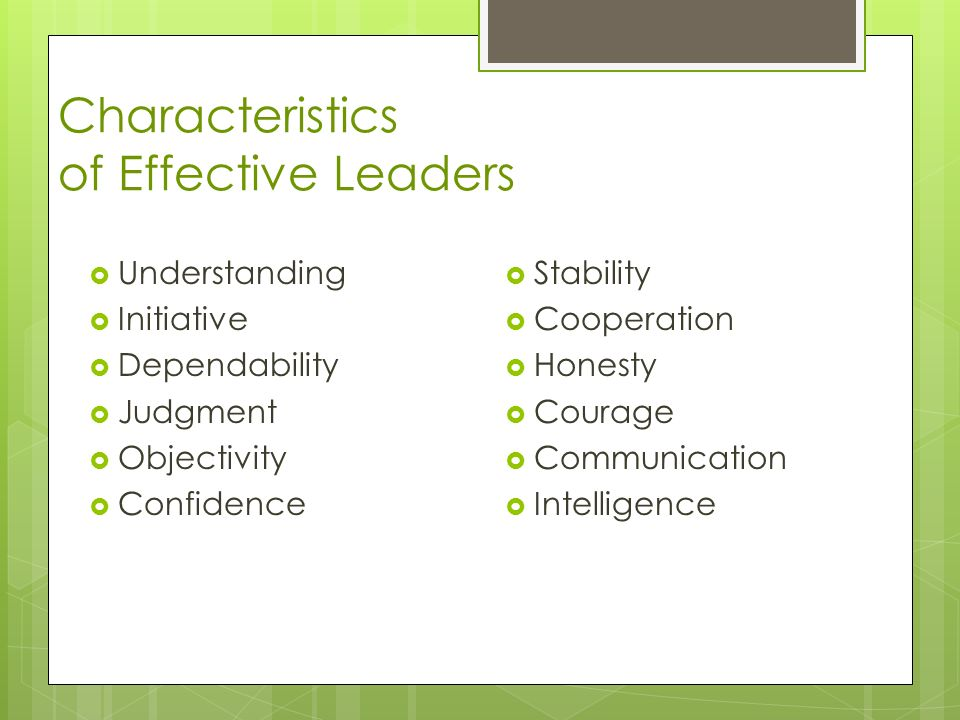 Characteristics of Effective Leaders  Understanding  Initiative  Dependability  Judgment  Objectivity  Confidence  Stability  Cooperation  Honesty  Courage  Communication  Intelligence