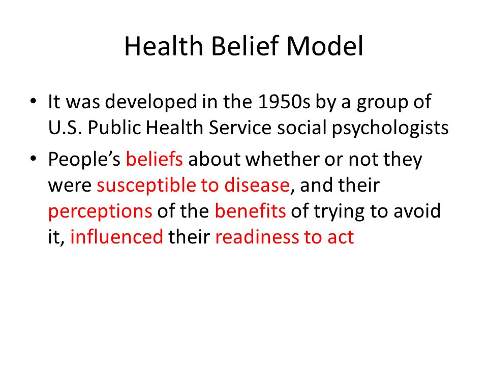 Health Belief Model It was developed in the 1950s by a group of U.S.
