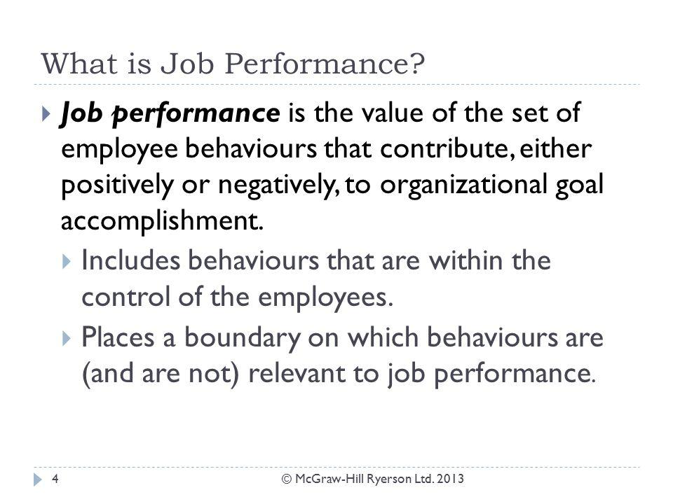 Chapter 2: Job Performance. Job Performance © McGraw-Hill Ryerson ...