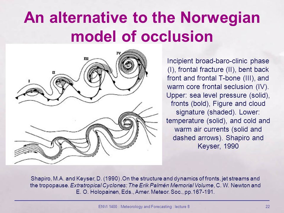 ENVI 1400 : Meteorology and Forecasting : lecture 822 An alternative to the Norwegian model of occlusion Incipient broad-baro-clinic phase (I), frontal fracture (II), bent back front and frontal T-bone (III), and warm core frontal seclusion (IV).