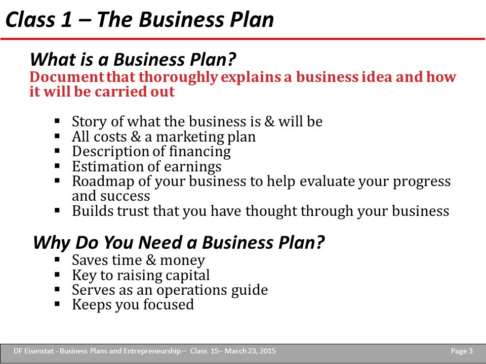 Business plan for entrepreneurship