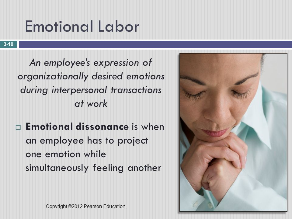 Copyright ©2012 Pearson Education Emotional Labor 3-10 An employee's expression of organizationally desired emotions during interpersonal transactions at work  Emotional dissonance is when an employee has to project one emotion while simultaneously feeling another