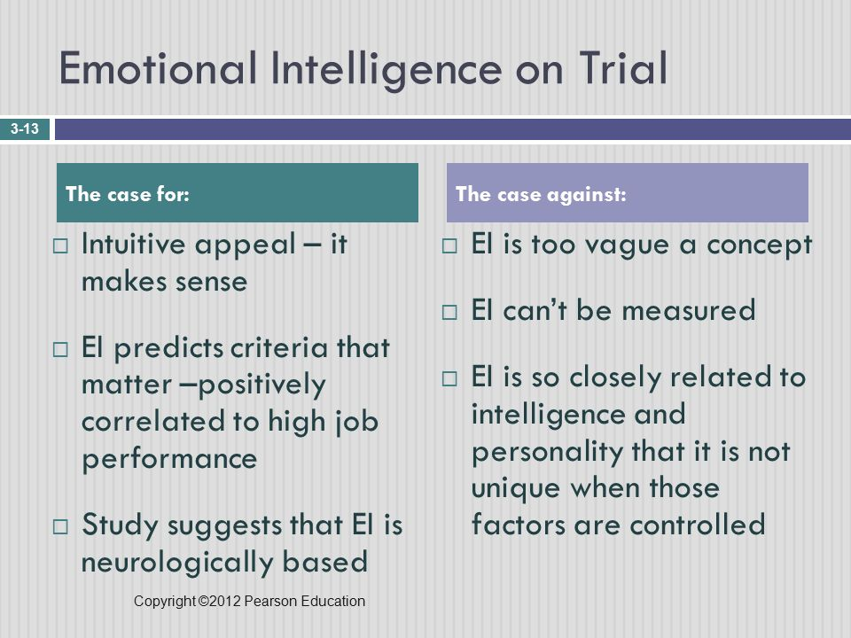 Copyright ©2012 Pearson Education Emotional Intelligence on Trial  Intuitive appeal – it makes sense  EI predicts criteria that matter –positively correlated to high job performance  Study suggests that EI is neurologically based  EI is too vague a concept  EI can't be measured  EI is so closely related to intelligence and personality that it is not unique when those factors are controlled 3-13 The case for:The case against:
