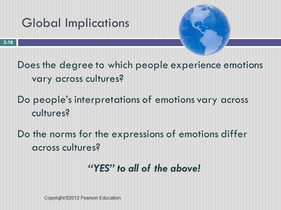 Copyright ©2012 Pearson Education Global Implications 3-18 Does the degree to which people experience emotions vary across cultures.