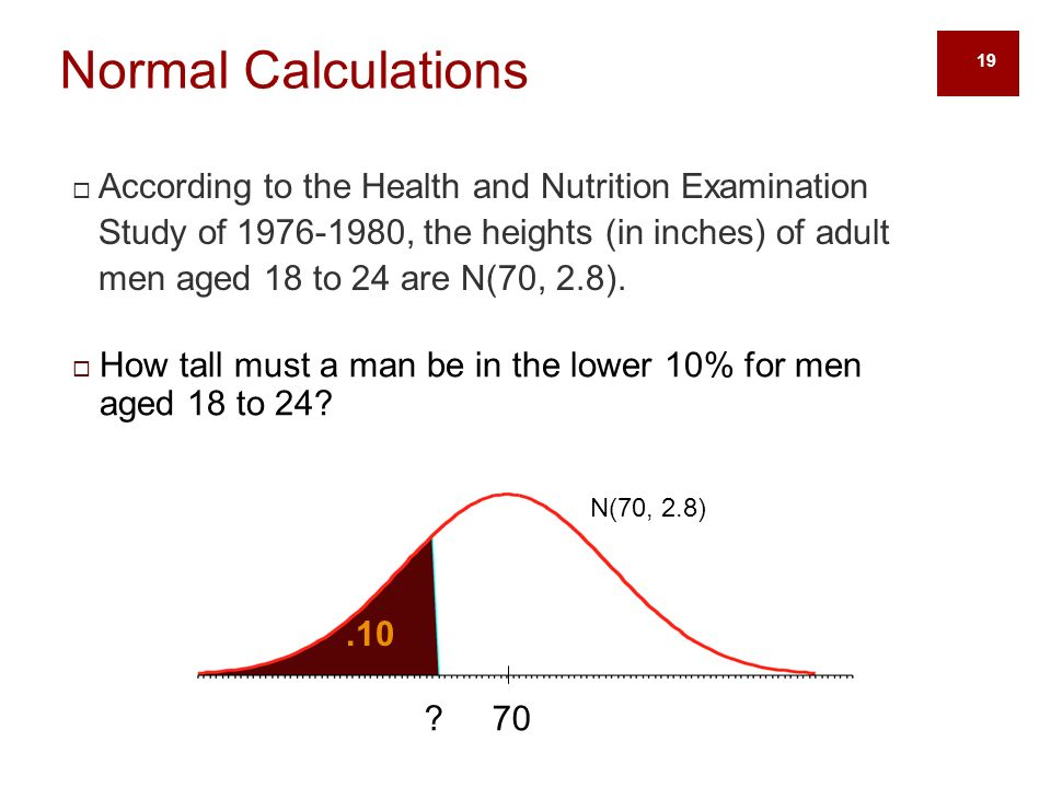 19  According to the Health and Nutrition Examination Study of , the heights (in inches) of adult men aged 18 to 24 are N(70, 2.8).
