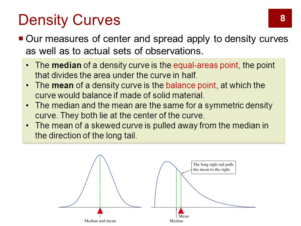 8  Our measures of center and spread apply to density curves as well as to actual sets of observations.
