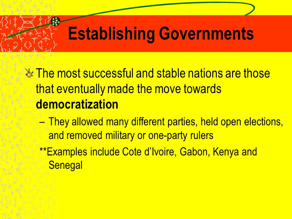 Establishing Governments In other nations, African leaders set up one-party governments –Believed that competing political parties created divisions within society –One-party rule is similar to traditional African values of consensus **What are the disadvantages of one-party rule