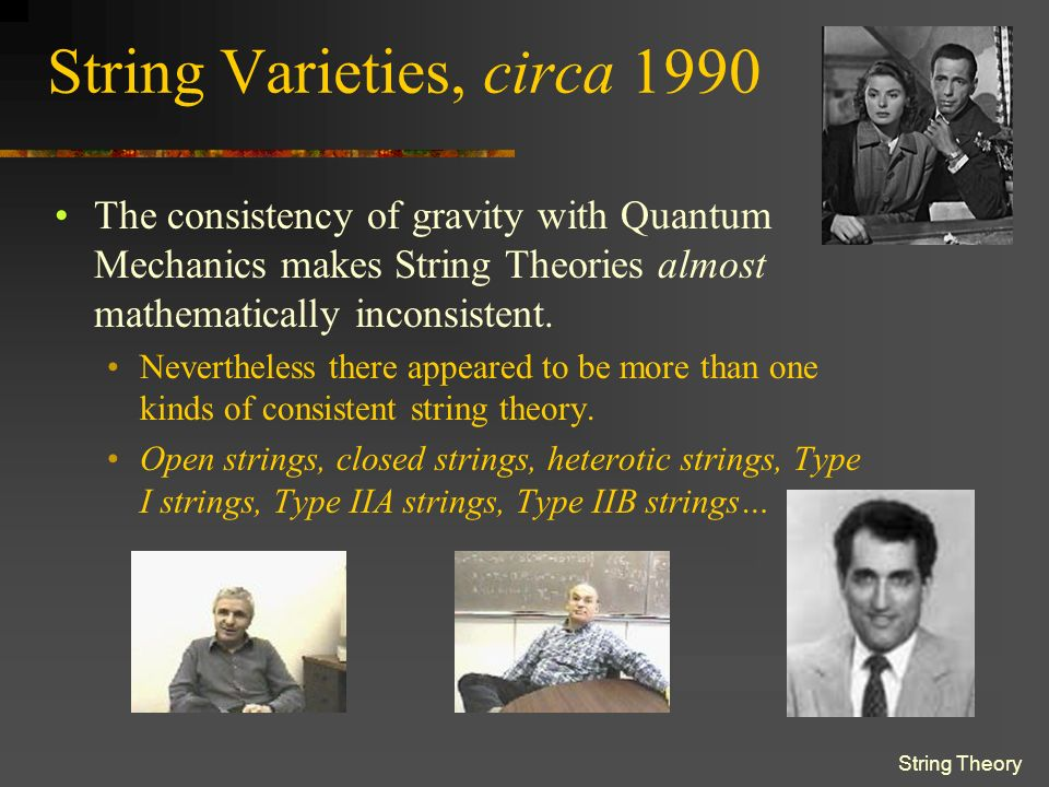 String Theory String Interactions All interactions consist of the splitting and joining of these elementary strings.