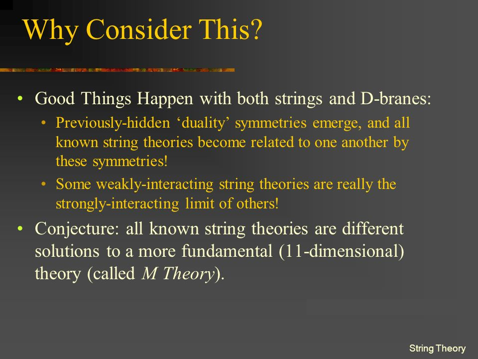 String Theory Why Consider This.