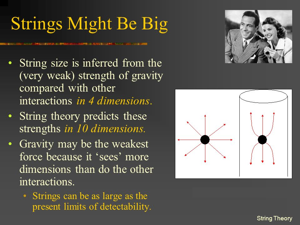 String Theory Strings Might Be Big String size is inferred from the (very weak) strength of gravity compared with other interactions in 4 dimensions.