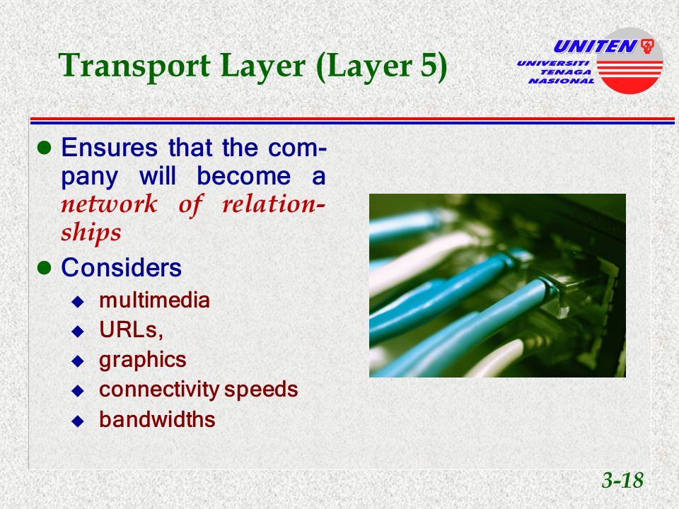 Transport Layer (Layer 5) Most technical layer to implement Includes u LANs u WANs u intranets u extranets u Internet 3-17
