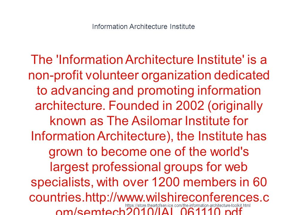 26 Information Architecture Institute ...