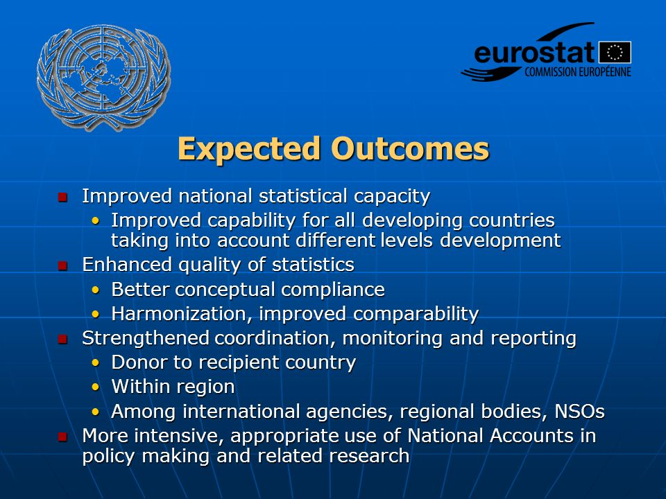 Expected Outcomes Improved national statistical capacity Improved national statistical capacity Improved capability for all developing countries taking into account different levels developmentImproved capability for all developing countries taking into account different levels development Enhanced quality of statistics Enhanced quality of statistics Better conceptual complianceBetter conceptual compliance Harmonization, improved comparabilityHarmonization, improved comparability Strengthened coordination, monitoring and reporting Strengthened coordination, monitoring and reporting Donor to recipient countryDonor to recipient country Within regionWithin region Among international agencies, regional bodies, NSOsAmong international agencies, regional bodies, NSOs More intensive, appropriate use of National Accounts in policy making and related research More intensive, appropriate use of National Accounts in policy making and related research