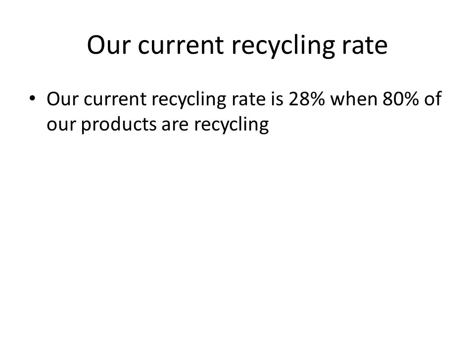 Our current recycling rate Our current recycling rate is 28% when 80% of our products are recycling