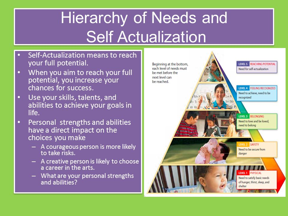 Hierarchy of Needs and Self Actualization Self-Actualization means to reach your full potential.
