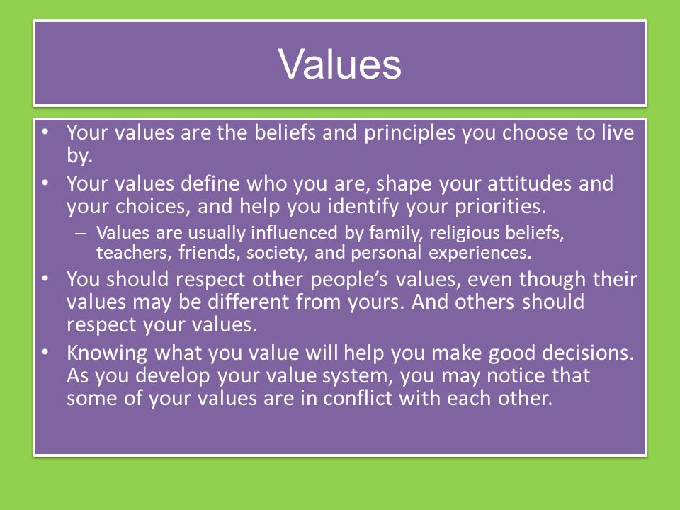 Values Your values are the beliefs and principles you choose to live by.