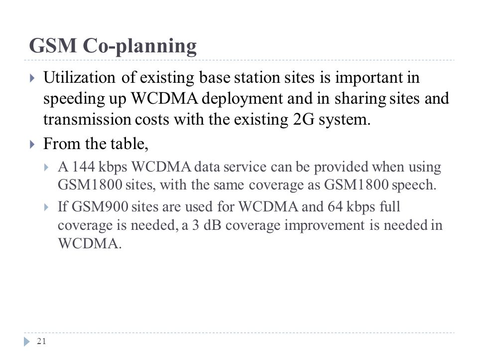 GSM Co-planning  Utilization of existing base station sites is important in speeding up WCDMA deployment and in sharing sites and transmission costs with the existing 2G system.