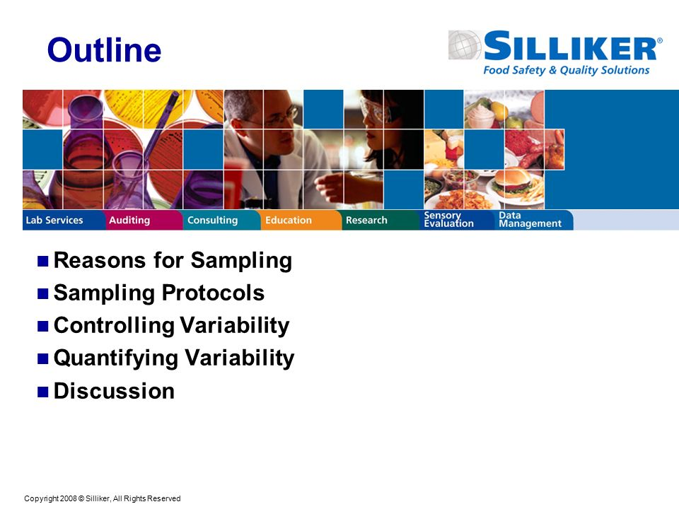 Copyright 2008 © Silliker, All Rights Reserved Outline Reasons for Sampling Sampling Protocols Controlling Variability Quantifying Variability Discussion