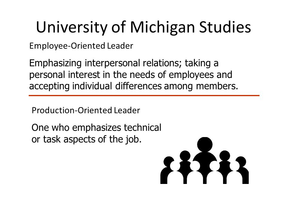 University of Michigan Studies Employee-Oriented Leader Emphasizing interpersonal relations; taking a personal interest in the needs of employees and accepting individual differences among members.