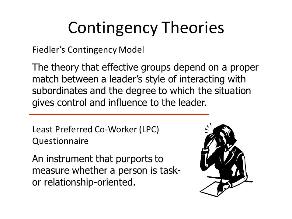 Contingency Theories Fiedler's Contingency Model The theory that effective groups depend on a proper match between a leader's style of interacting with subordinates and the degree to which the situation gives control and influence to the leader.
