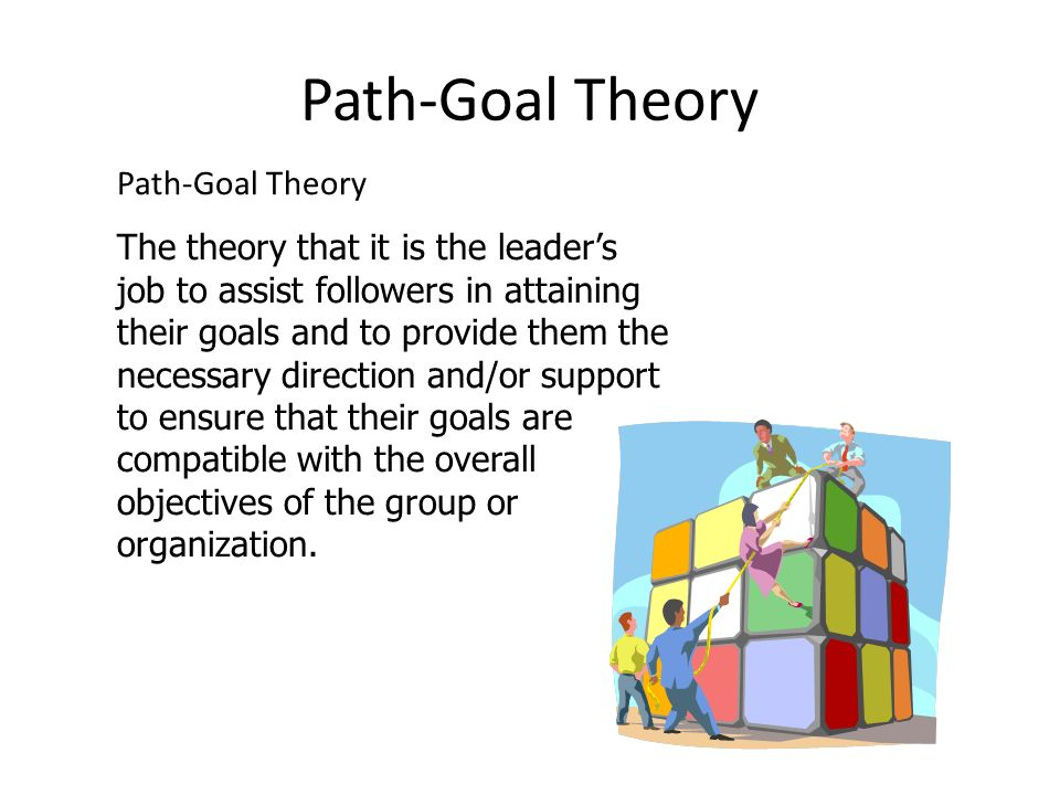 Path-Goal Theory The theory that it is the leader's job to assist followers in attaining their goals and to provide them the necessary direction and/or support to ensure that their goals are compatible with the overall objectives of the group or organization.