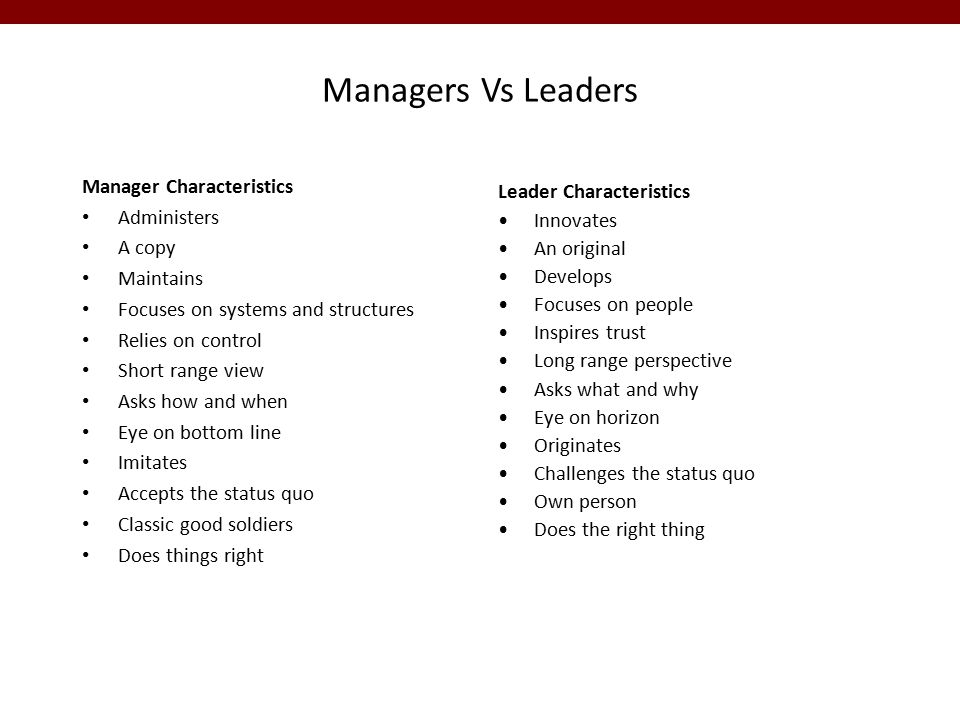 Managers Vs Leaders Manager Characteristics Administers A copy Maintains Focuses on systems and structures Relies on control Short range view Asks how and when Eye on bottom line Imitates Accepts the status quo Classic good soldiers Does things right Leader Characteristics Innovates An original Develops Focuses on people Inspires trust Long range perspective Asks what and why Eye on horizon Originates Challenges the status quo Own person Does the right thing