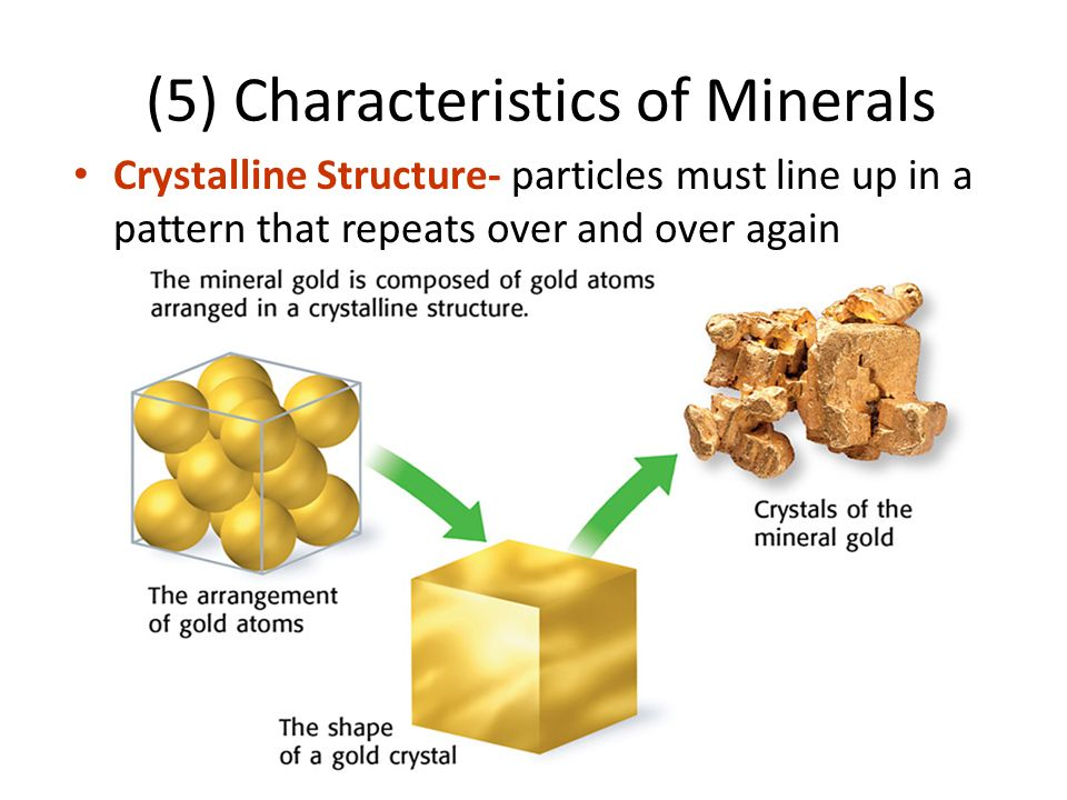 (5) Characteristics of Minerals Crystalline Structure- particles must line up in a pattern that repeats over and over again