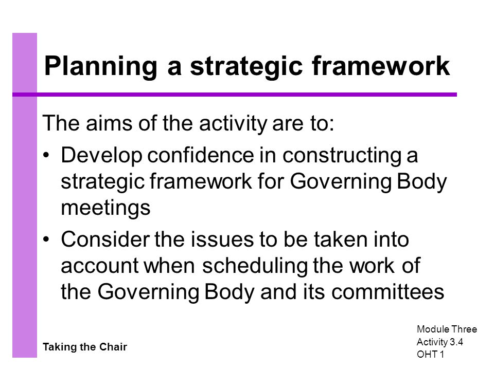 Taking the Chair Planning a strategic framework The aims of the activity are to: Develop confidence in constructing a strategic framework for Governing Body meetings Consider the issues to be taken into account when scheduling the work of the Governing Body and its committees Module Three Activity 3.4 OHT 1
