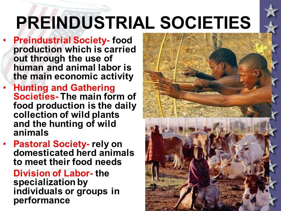 PREINDUSTRIAL SOCIETIES Preindustrial Society- food production which is carried out through the use of human and animal labor is the main economic act