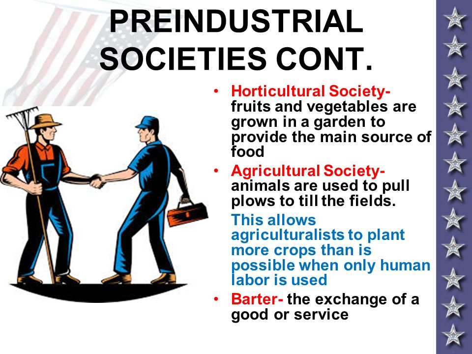 PREINDUSTRIAL SOCIETIES CONT. Horticultural Society- fruits and vegetables are grown in a garden to provide the main source of food Agricultural Socie