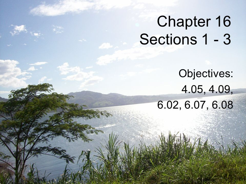 Chapter 16 Sections Objectives: 4.05, 4.09, 6.02, 6.07, 6.08