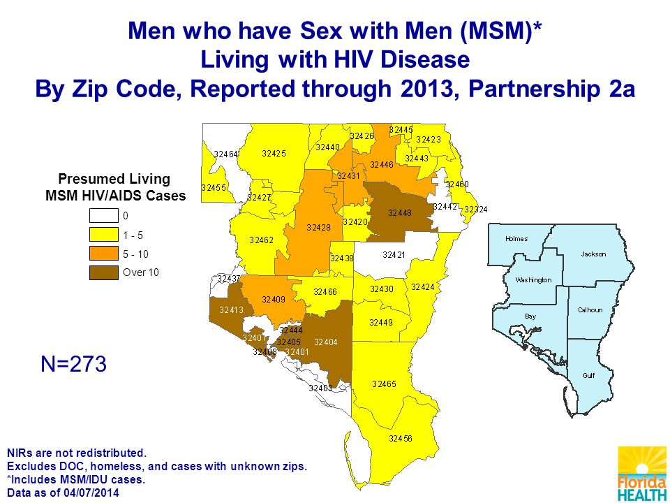 N=273 Over Presumed Living MSM HIV/AIDS Cases Men who have Sex with Men (MSM)* Living with HIV Disease By Zip Code, Reported through 2013, Partnership 2a NIRs are not redistributed.